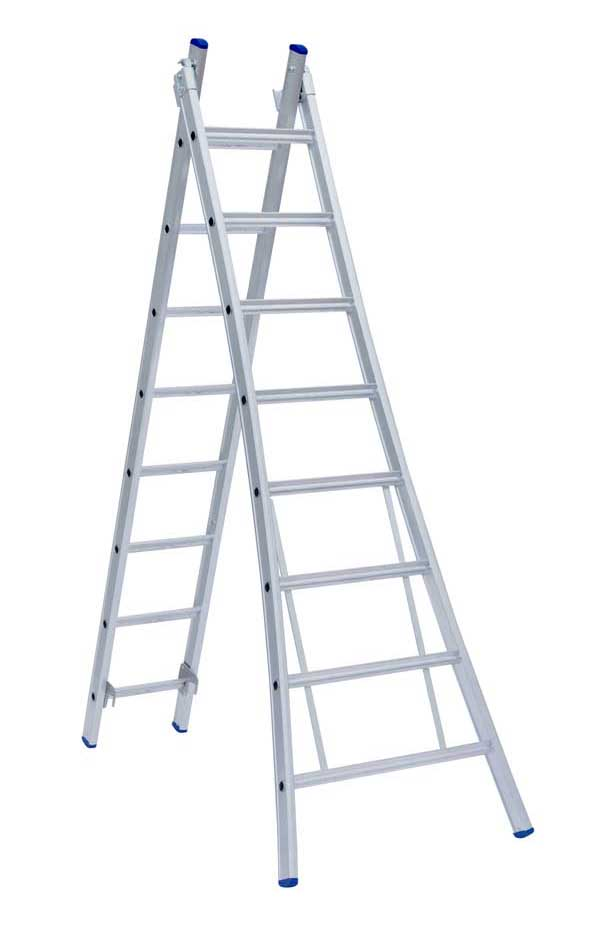 Eurostairs tweedelige ladder uitgebogen